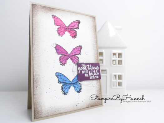 Shabby Chic Watercolour card using Butterfly Gala from Stampin' Up! with StampinByHannah