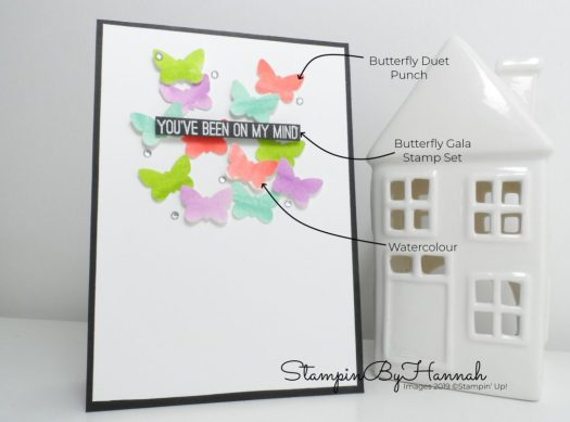 Create a fun floating Butterfly card using Butterfly Gala from Stampin' Up! with StampinByHannah