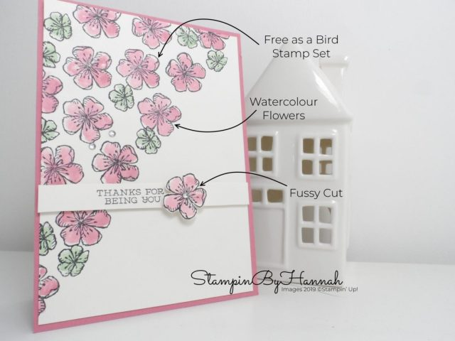 Pretty watercolour Thank You card using Free as a bird and Bird Ballard from Stampin' Up! with StampinByHannah