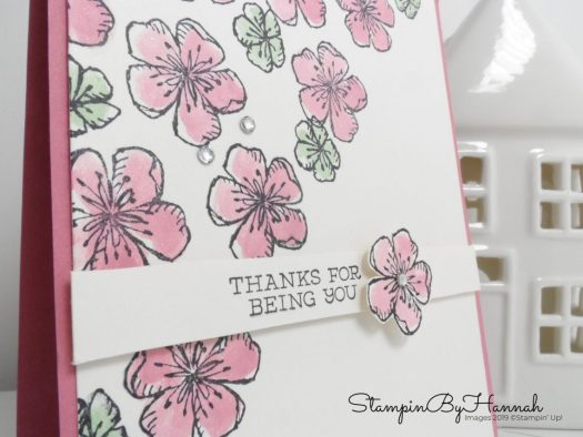 Rococo Rose Thank You card using Free as a bird from Stampin' Up! with StampinByHannah