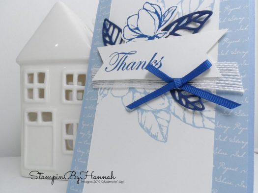 Fabulous Hand stamped thanks card using Good Morning Magnolia from Stampin' Up! with StampinByHannah