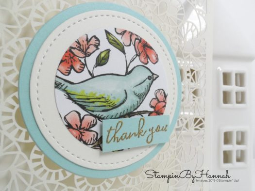 Pretty bird Thank you card using  Bird Ballad Laser-Cut Cards & Tin from Stampin' Up! with StampinByHannah