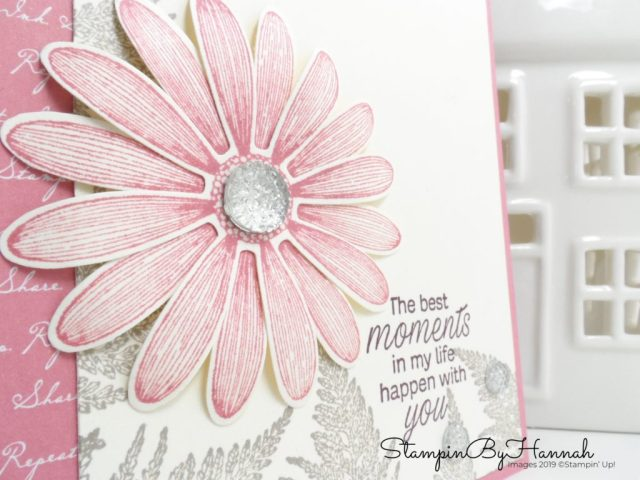 Pretty Pink card using Daisy Lane from Stampin' Up! with StampinByHannah