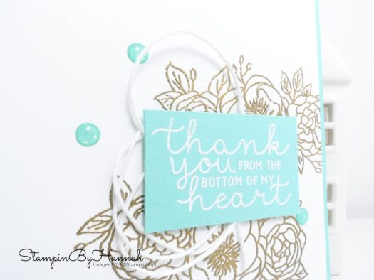 Pretty floral heat embossed thank you card using Bloom and Grow from Stampin' Up! with StampinByHannah