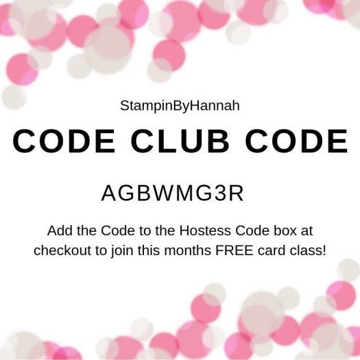 StampinByHannah Code Club Code July 2019