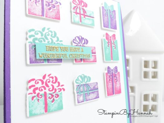 Non traditional Christmas Card using Most Wonderful Time from Stampin' Up! with StampinByHannah