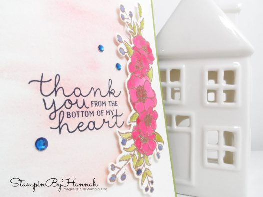 Watercolour thank you card using Bloom and Grow from Stampin' Up! with StampinByHannah