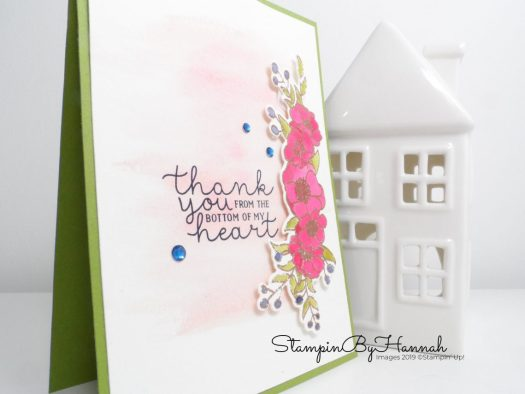 Inspire.Create.Challenge colour challenge Night of Navy Old Olive Lovely Lipstick Blushing Bride Thank you card using Bloom and Grow from Stampin' Up! with StampinByHannah