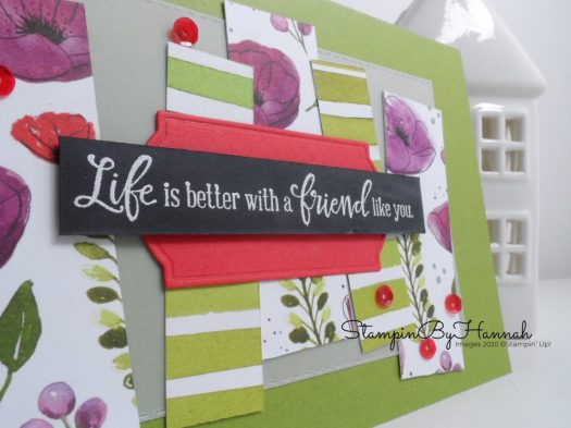 Life is better with a friend like you Peaceful Poppies Card using Stampin' Up! Designer Series paper with StampinByHannah