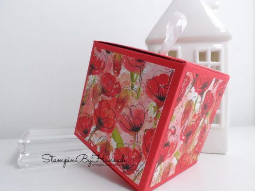 Quick and Easy DIY Box using Stampin' Up! Peaceful Poppies Designer Series Paper with StampinByHannah