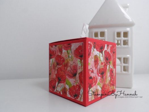 Peaceful Poppies box using Stampin' Up! Designer Series Paper with StampinByHannah