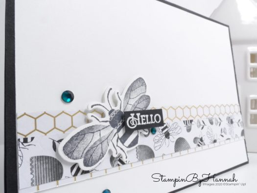 Quick and Simple Honey Bee card using Golden Honey DSP from Stampin' Up! with StampinByHannah