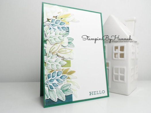 Hello Forever Greenery card using Stampin' Up! Forever Greenery suite for Pootles team blog hop with StampinByHannah