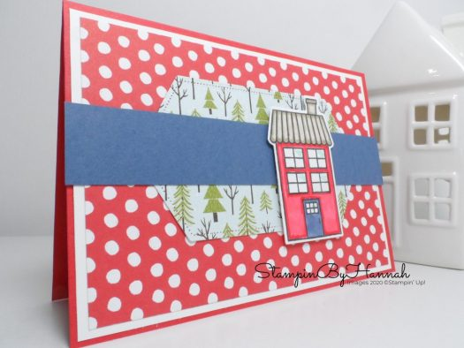Cute house card using Trimming the Town from Stampin' Up! with StampinByHannah for Facebook Live