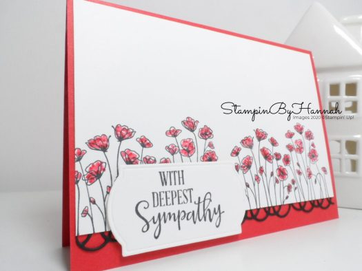 With Sympathy card using Painted Poppies from Stampin' Up! with StampinByHannah