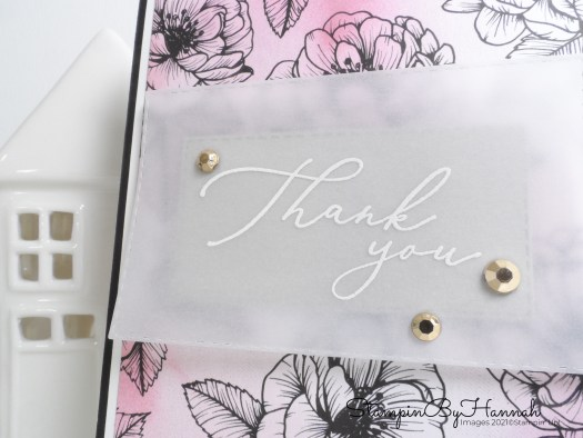 Heat Embossed Thank you card using Heal your Heart from Stampin' Up! Sale-a-bration with StampinByHannah