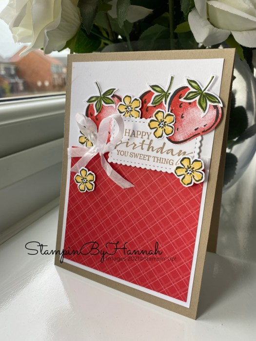 Handmade birthday card using Sweet Strawberry from Stampin' Up! with StampinByHannah