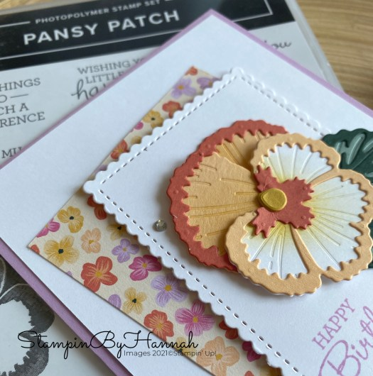 Fun Die Cut Pansy Birthday card using Pansy Patch from Stampin' Up! with StampinByHannah
