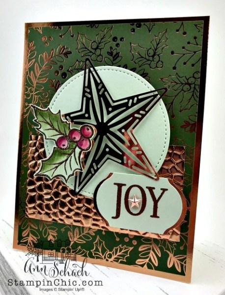 copper accented Christmas card