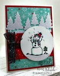 snowman card with glittery trees