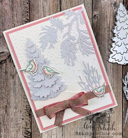winter card with sparkly trees