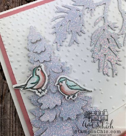 winter snow card with sparkly trees