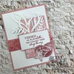 Seashell Friendship Card adorned with Pink seashells