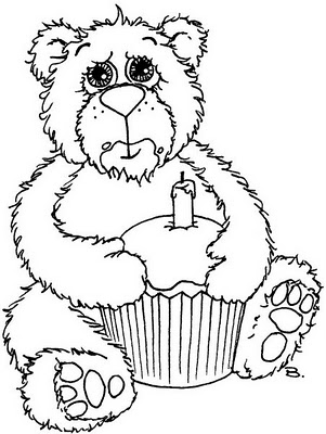 Freebie Birthday Bear Digital Stamp Stamping
