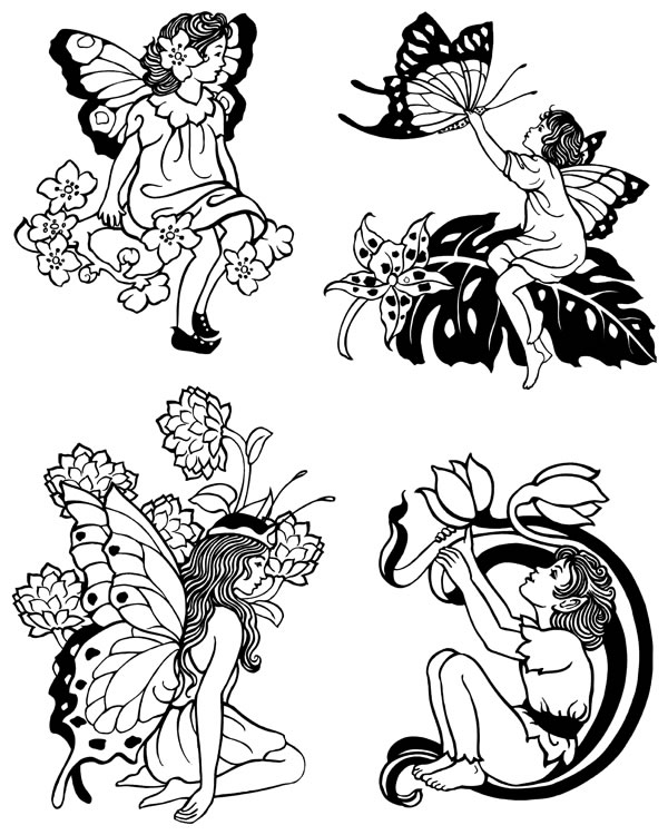 Freebie: Fairies Digital Stamps