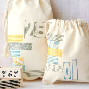 project: stamped muslin bags