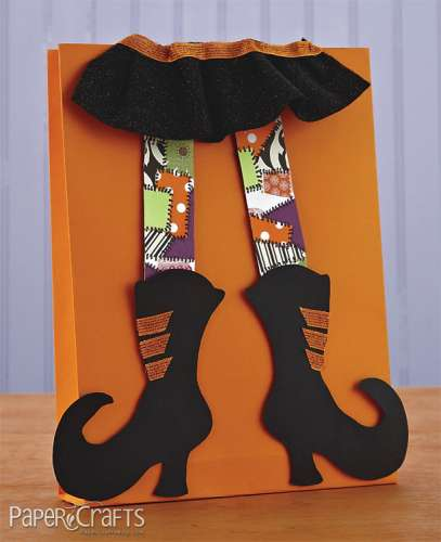 Project Freebie Witches Legs Treat Bag Stamping