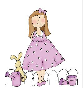 Freebie: Girl and Bunny Digital Stamp