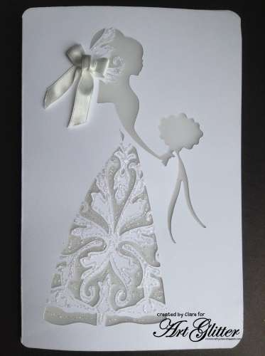 Project: Glittery White Wedding Card