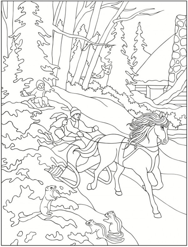 winter scene coloring pages - freebie winter scene images stamping