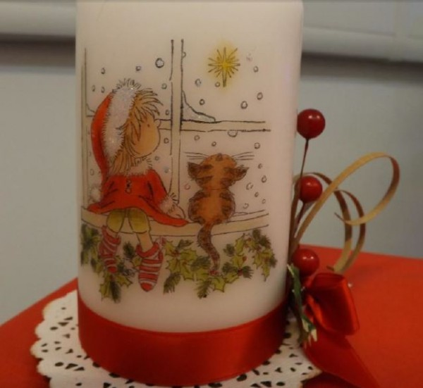 Project: Stamped Christmas Candle