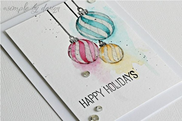 Technique: Water Colored Christmas Card