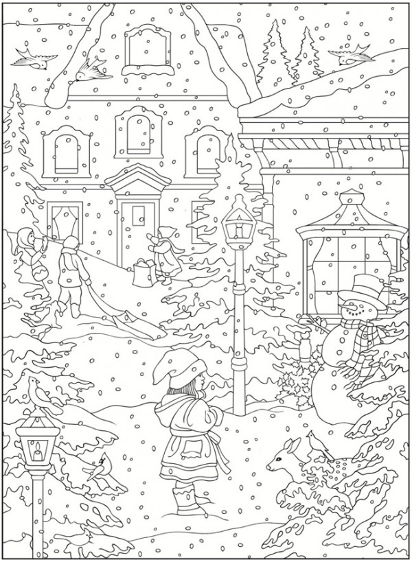 Freebie Winter Coloring Pages Stamping