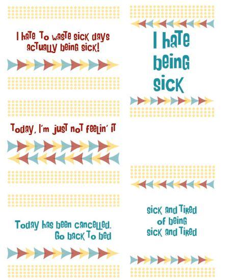 Freebie: Sick Day Sentiments