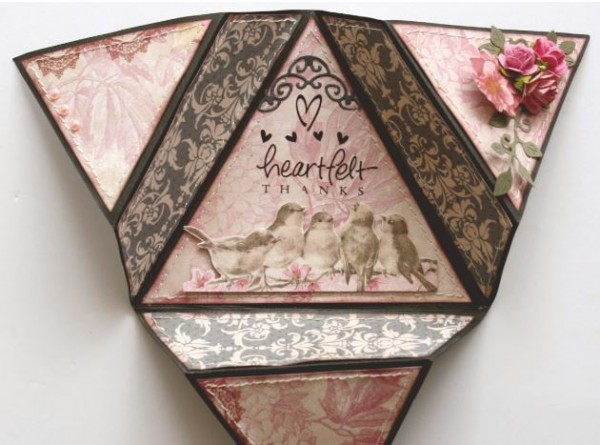 pattern triangle fold card stamping