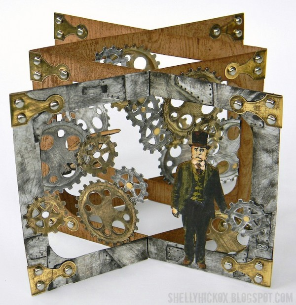 Project Masculine Steampunk Style Pop Up Card Stamping