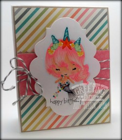 Freebie and Tips: Coloring Pink Hair on Stamped Images