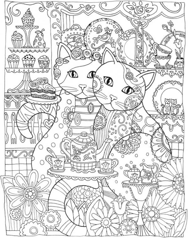 Intricate Cat Coloring Pages : Freebie cat mandala coloring page stamping