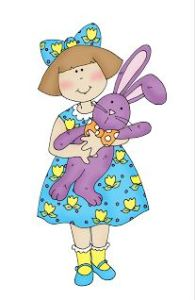 Freebie: Easter Girl with Bunny Digital Stamp
