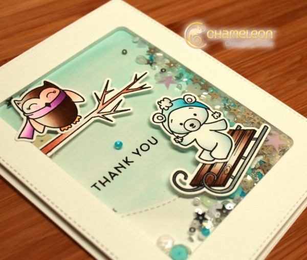 Project: Winter Thank You Shaker Card