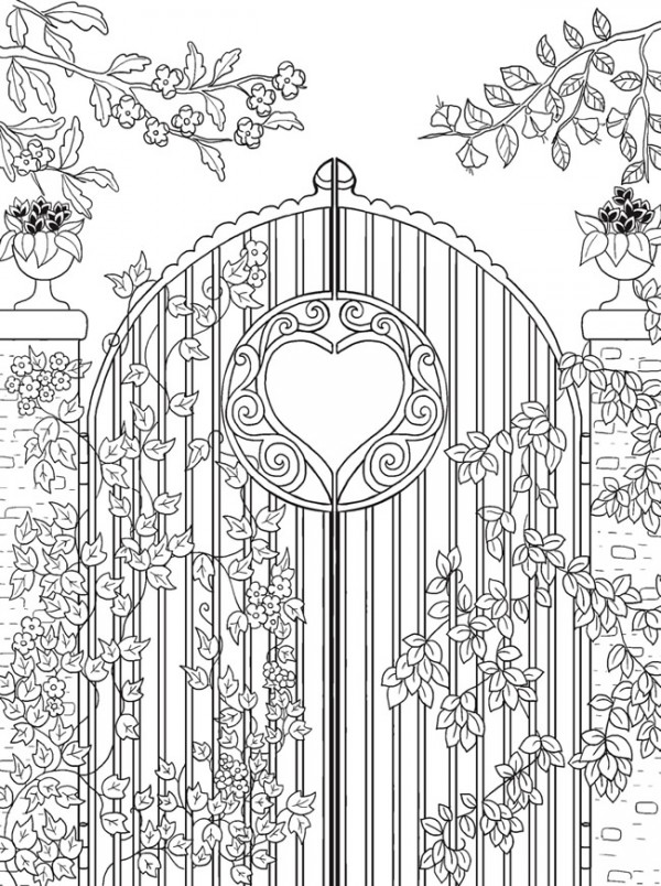 better homes and gardens coloring pages - freebie garden gate coloring page stamping