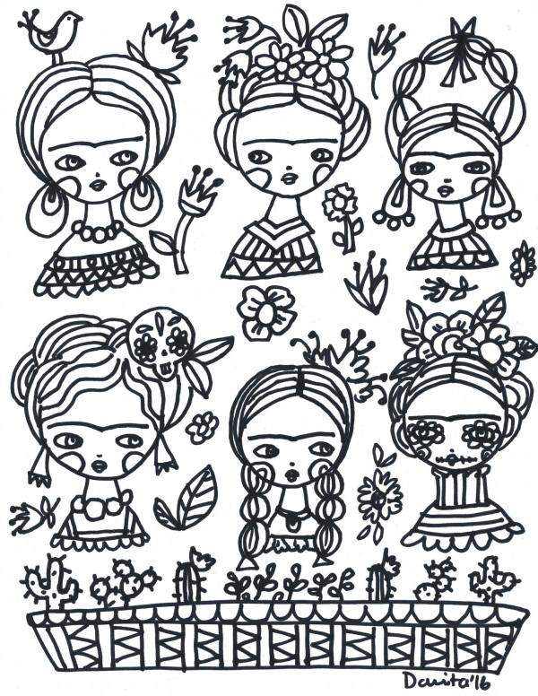 Freebie: Frida Kahlo Color Page