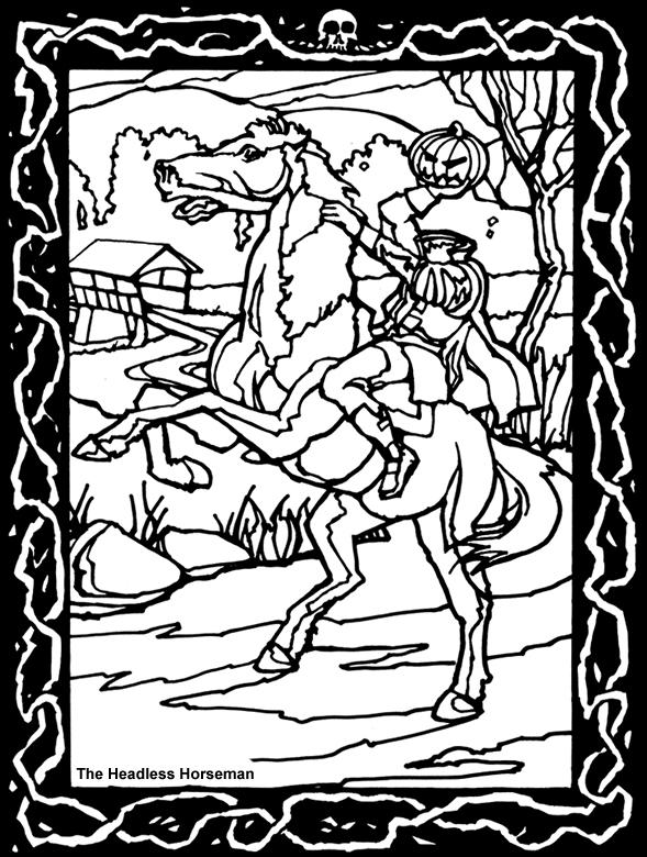 Freebie Headless Horseman Halloween Coloring Page Stamping