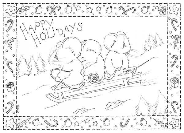 Freebie: Holiday Mice Digi Stamp