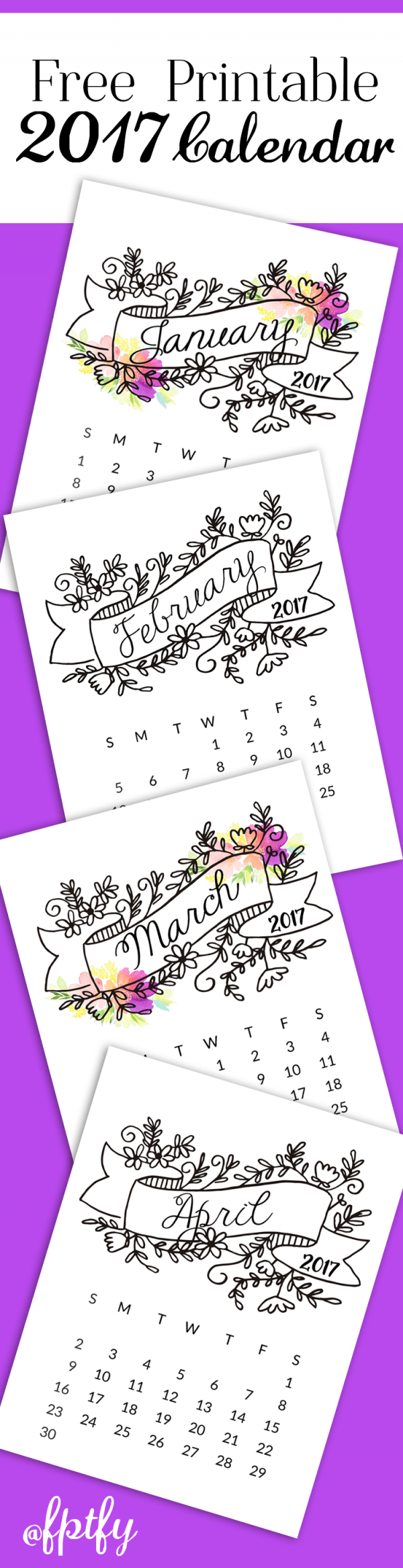 Freebie: 2017 Printable Coloring Page Calendar Pages