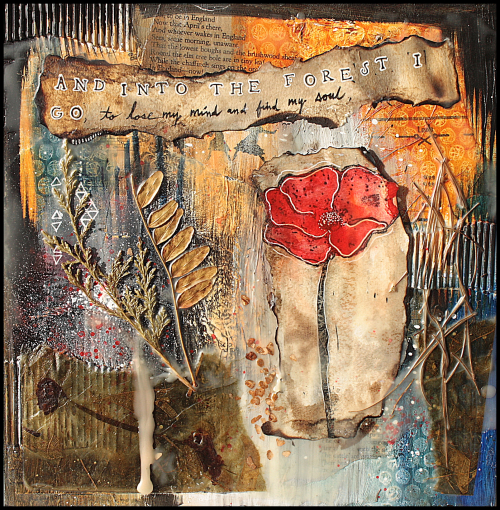 Project Mixed Media Poppy Collage Art Stamping
